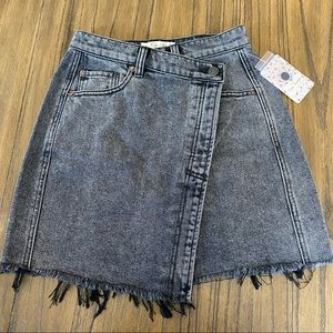 We the Free washed out black high rise denim skirt